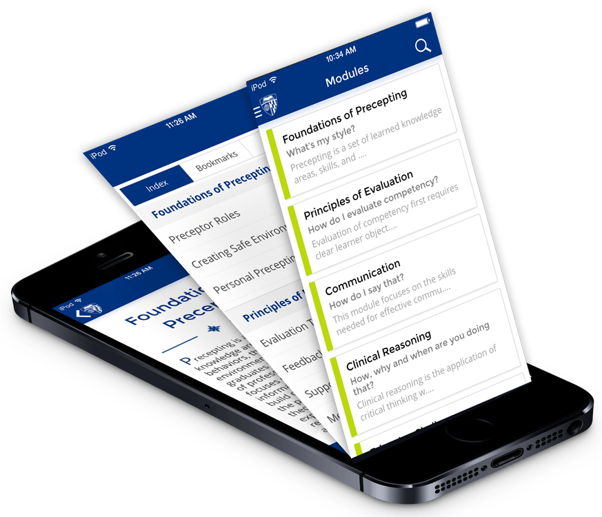 9 module of preceptor app